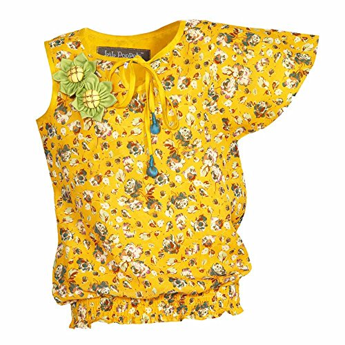 Lil Poppets Girls' One Wing Sleeve Top [Lilpoppets-025_Yellow_(5-6 Years)]