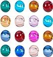 PandaHall 100PCS Perline Vetro Perline Europee Perline Colorate con Foro Grande, Rondelle, Colore Misto, Circa 15mm di Diametro, 10mm di Spessore, Foro: 5mm
