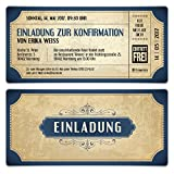 Konfirmation Einladungskarten (20 Stück) - Vintage Eintrittskarten in Blau - Konfirmationskarten Einladung