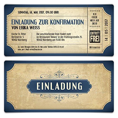 Konfirmation Einladungskarten (10 Stück) - Vintage Eintrittskarten in Blau - Konfirmationskarten Einladung
