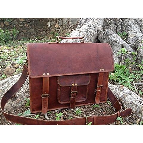 Vintage Crafts auténtica piel de hombres mensajero bolsa de ordenador portátil maletín bolso bandolera para