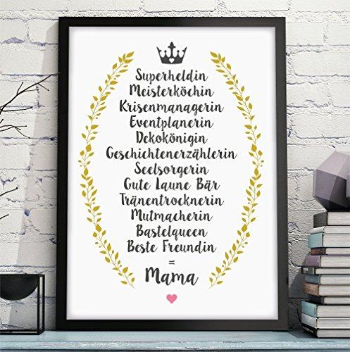 BESTE FREUNDIN = MAMA hochwertiger Kunstdruck – perfektes und persönliches Geschenk für Deine Mutter zum Geburtstag Hochzeitstag Frauentag Muttertag - Rahmen optional zubuchbar