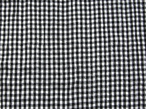 9cec3f7e876 Woven Crinkle Gingham Check Fabric Black - per metre