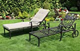 Made for us Alu Garten-Liege, Sonnen-Liege aus wetterfestem Aluguss, Liege-Stuhl mit UV Beständiger AkzoNobel Einbrennlackierung. Inkl. waschbarer Gartenauflage. (2 Gartenliegen)