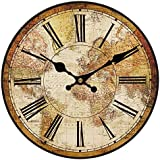 hylaea Creative redondo Silent reloj de pared World Map, madera, Couleur1, diámetro 40 cm