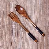 EQLEF® 6 piezas de retro natural Cuchara Tenedor de madera Conjuntos de vajilla de diseño anti-calor de madera conjunto Cuchara Tenedor