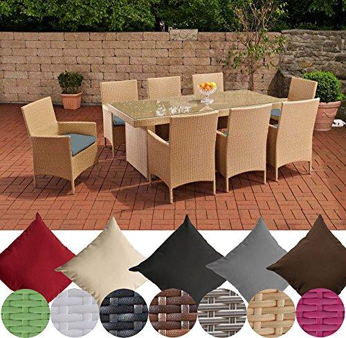 Acht-personen-esstisch (CLP Polyrattan Essgruppe AVIGNON BIG (Tisch 200 x 90 cm + 8 x Polyrattan Stuhl Julia + Sitzauflagen), bis zu 7 Rattan-Farben und 5 Bezugsfarben wählbar Rattanfarbe: Sand, Bezugfarbe: Eisengrau)