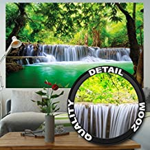Poster Waterfall Feng Shui Wall Picture Decoration Nature Jungle Scenery Paradise Vacation Thailand Asia Wellness Spa Relax | Wallposter Photoposter wall mural wall decor by GREAT ART (55 Inch x 39.4 Inch/140 cm x 100 cm)