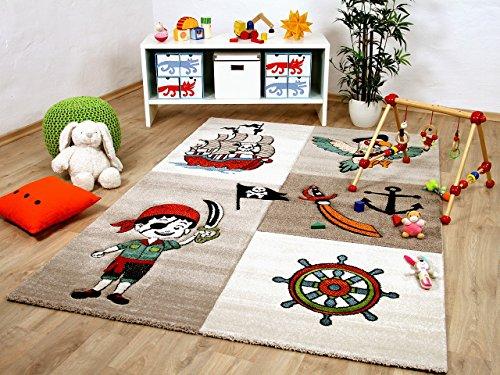 Savona Kinder und Spiel Teppich Kids Lustiger Pirat Beige Bunt in 5 Größen -