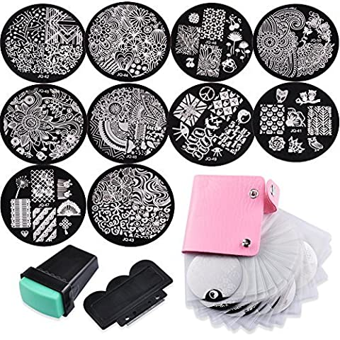 Biutee 10 Nail Plates +1 Stamper + 1 Scraper + Pack Bag Nail Art Image Stamp Stamping Plates Manicure Template Nail Art Tools by