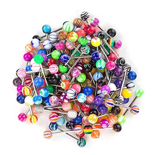 SHINEstyle 100 Pcs 14g Verschiedene Farben Und Designs ErhäLtlich Zungenpiercings KöRper Piercing Schmuck Zunge-körper-schmuck