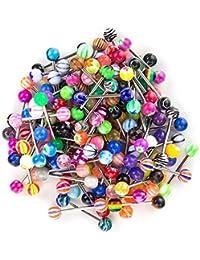 SHINEstyle 100 Pcs Piercings Langue En Belly Button Mixte Anneaux Nombril Barbells Body Piercing