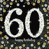 Servietten 60 Geburtstag mit Prägung Silber Gold 16 Stück 33x33cm