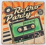Retro Party Cassette Kassette - Werbe Schild aus Holz - 40 x 40 cm - Vintage Shabby Look