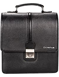 Genuine Premium Unisex Leather Sling Bag - Cosmus Georgia Black Casual Leather Bag