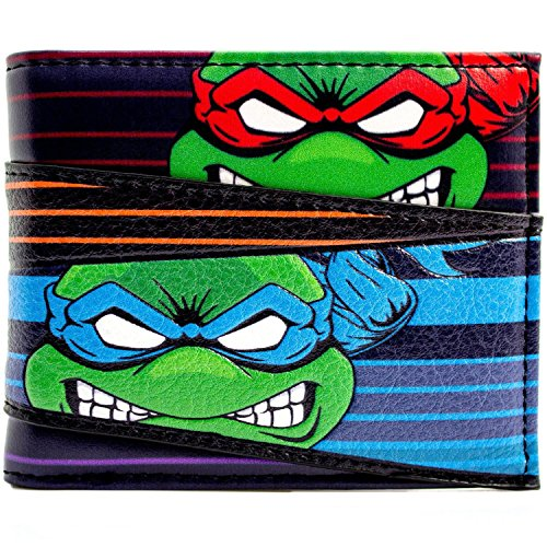 Kostüm Ninja Turtles Splinter Mutant Teenage (Teenage Mutant Ninja Turtles Verärgerte Mannschaft Faces Striped Schwarz Portemonnaie)