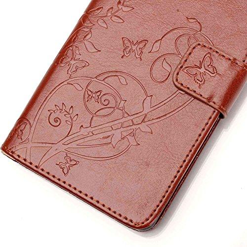 Prägen Blumen-Case, Magnetverschluss Synthetische PU-Leder-Kasten-Abdeckung mit hängenden Seil und Wallet-Funktion für Samsung S7 ( Color : Pink , Size : Samsung S7 ) Brown