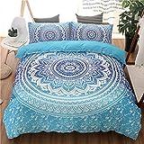 MIUNNG Bohème Mandala Housse de Couette Enfant Adulte Hommes et Femmes Décoration de la Maison Hippie Gypsy Style Parure de lit avec Taie d'oreiller Microfibre Confortable Doux (Bleu, 200 x 200cm)