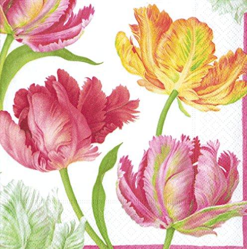 Tulip Dance Floral farbige Tulpen Caspari Lunch Papier Servietten 20Stück 3-lagig 33cm quadratisch