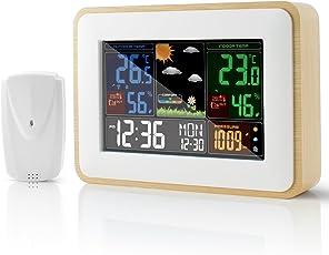 Fukkie Wetterstation mit Außensensor, Innen und Außen Temperatur, Luftfeuchtigkeit, Luftdruck, Wettervorhersage, Hoch/Niedrig Temperaturalarm, 2 Wecker, Schlummerfunktion und 6 Zoll LCD Farbdisplay