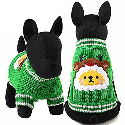 Moolecole Pet Costume Christmas Green Sweater Dog Cat Clothes Teddy Funny Apperal Green XS