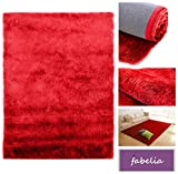 Hochflor Teppich Shaggy Gentle Luxus - Satin Luxury - Weich und Handgetuftet/In vielen bunten Farben - Läufer (80 cm x 150 cm, Rot)