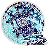 Leana Collection Serviette Plage Ronde Mandala Épaisse Tapisserie Coton avec Frange Ultra-épais Mat Yoga Hippie Tapis Beach Ete Cadeau (Bleu Etoil)