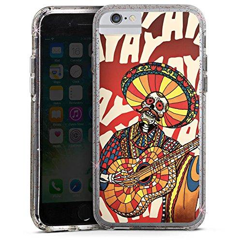Apple iPhone 6s Plus Bumper Hülle Bumper Case Glitzer Hülle Mariachi Skull Totenkopf Bumper Case Glitzer rose gold