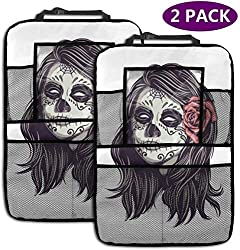 ASKSWF Backseat Car Organizer Mexican Girl Sugar Skull Car Backseat Organizer Seat Protector Travel Accessories for Kid & Toddlers (2 Pack)