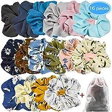 EAONE 16 Piezas de Scrunchies de Pelo de Flor de Gasa Lazos Elásticos Banda  de Pelo dd57fd883c5a