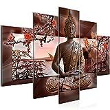 Bilder Buddha Feng Shui Wandbild 150 x 100 cm Vlies - Leinwand Bild XXL Format Wandbilder Wohnzimmer Wohnung Deko Kunstdrucke Braun 5 Teilig -100% MADE IN GERMANY - Fertig zum Aufhängen 503253a