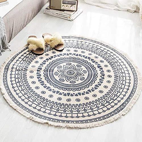 Tapiz Redondo Alfombra Bohemia Mandala Moqueta 100% Algodón de Área Redonda Colcha para la Decoración de la Sala de Estar del Dormitorio Carpet Estera Yoga Manta Picnic,Azul,90X90cm