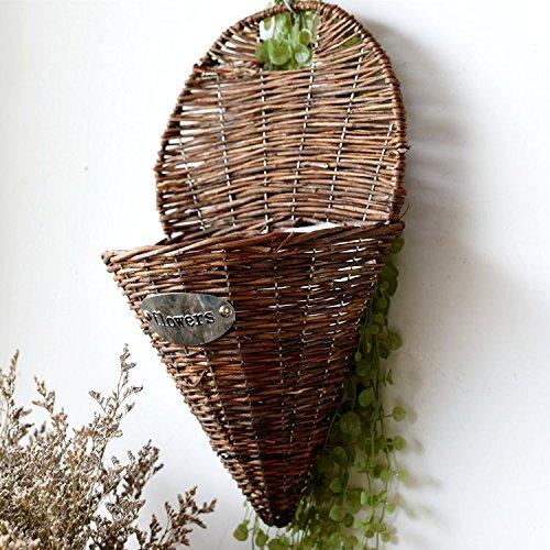 Lx.AZ.Kx American villaggio idilliaco retrò Hand-Wicker Carrello Home Montaggio a parete parete decorazione cesti di fiori di corna cesto Rattan Flower,cesti di fiori,massimo