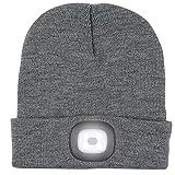 Sombrero hecho punto con luz, ANGTUO 4LED faro regulable sombrero desmontable lavable linterna manos libres para correr, caza, camping, asar a la parrilla, montar (recargable)