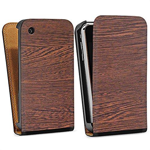 Apple iPhone 4 Housse Étui Silicone Coque Protection Noisetier Look bois Sol en bois Sac Downflip noir