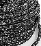 Câble électrique en tissu rond Rond Style Vintage avec revêtement coloré fils brut Canvas Lin Gris foncé H03VV-F section 3x 0,75pour lustres, lampes, abat jour, Design. Fabriqué en Italie