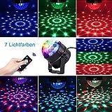 Discokugel 7 Farben für Party, Halloween, Weihnachten, Bar, Feier, Dance, DJ, KTV, Konzert, Mini Discolichter Bühnenlicht, Disco Lichteffekte Musikgesteuert RGB-LED-Lampe (Mit Fernbedienung)