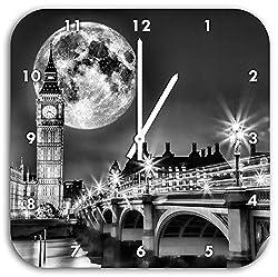 Stil.Zeit Monocrome, Big Ben vor großen Mond in London, Wanduhr Durchmesser 28cm mit weißen Spitzen Zeigern und Ziffernblatt