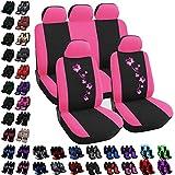 Woltu AS7252 Set Completo di Coprisedili Auto Seat Cover Universali Protezione per Sedile di Poliestere con Ricamo Farfalle Nero+Rosa