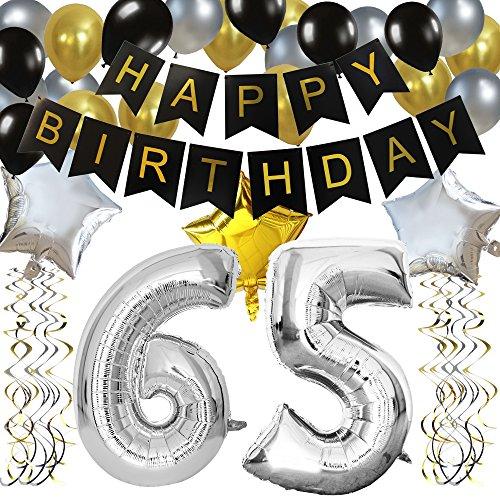 """KUNGYO Clásico Decoración de Cumpleaños -""""Happy Birthday"""" Bandera Negro;Número 65 Globo;Balloon de Látex&Estrella, Colgando Remolinos-Perfectas del Partido para el Cumpleaños DE 65 Años"""
