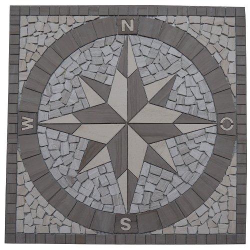 Creme Fliese (Naturstein Marmor Rosone 120x120 cm Windrose Mosaik Einleger Fliesen Creme Weiss 033)