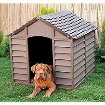 Caseta para perros Talla Grande Media cucce de resina PVC Tejado Vertientes para exterior jardín desmontable cm 78x 84x