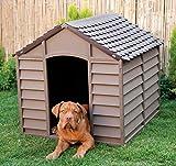 Niche pour chiens taille grande moyenne niches en résine PVC toit spiovente pour extérieur jardin démontable cm 78x 84x 80beige/marron
