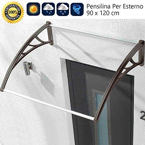 Bakaji pensilina in policarbonato trasparente per porte e finestre tettoia modulare da esterno giardino terrazzo balcone colore nero (90 x 120 cm)