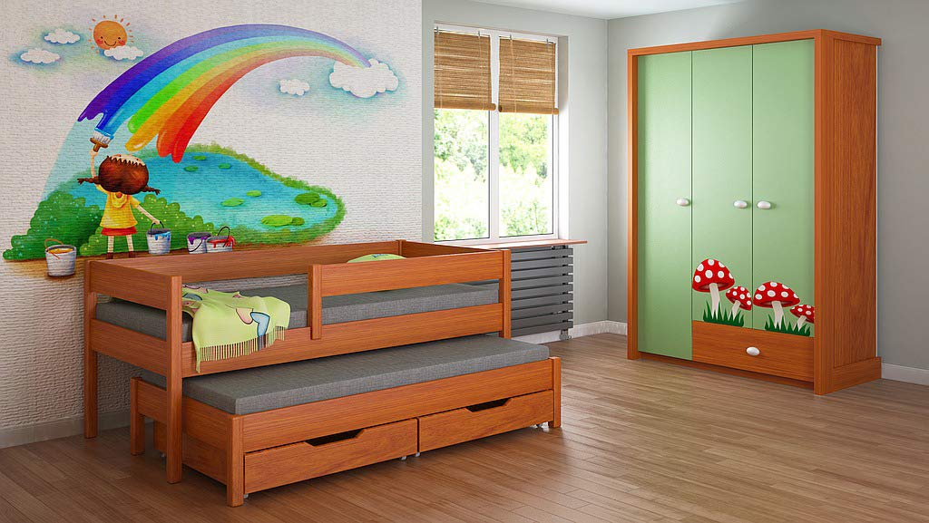 Children's Beds Home Trundle Bed For Kids Children Juniors with 2 Foam - Coconut Fibre Mattress and Drawers Included (200x90, Alder) Children's Beds Home Bed with Barriers Dimensions - Internal 140x70, 160x80, 180x80, 180x90, 200x90 (External: 147x77, 167x87, 187x87, 187x97, 207x97) Lower Bed Dimensions - Internal: 130x70, 150x80, 170x80, 170x90, 190x90 (External: 137x77, 157x87, 177x87, 177x97, 197x97) Universal bed entrance - right or left side, front barrier can be removed at later stage.Bed frame with load capacity of 150 kg, Fittings + installation instructions 1