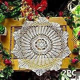 ustide hecho a mano Crocheted Doilies–Juego de manteles individuales mesa redonda White Lace...