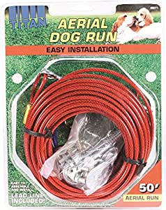 ARIEL DOG RUN-CABLE TROLLEY SYSTEM 50.This Titan aerial dog runs was manufactured using brass hardware and stringent quality control to assure every tie-out offers superior strength. Dog runs give dogs extra freedom to roam while keeping them safely restricted to a 50' area.