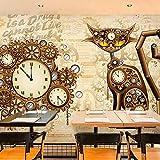 HUANGYAHUI Fotomurales Reloj Nostálgico Metal Engranajes De Fondo Papel pintado Papel Pintado murales decoración de paredes moderna