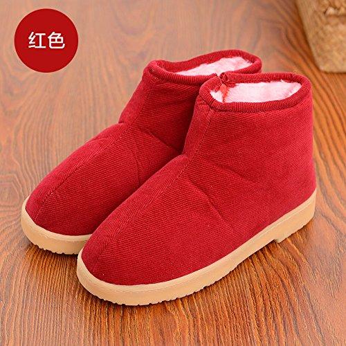 DogHaccd pantofole,Gli anziani inverno paio di pantofole di cotone pacchetto con le vecchie scarpe di spessore home femmina calda coperta nonna scarpe di cotone maschio Il rosso2