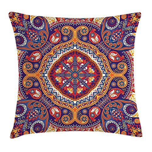 fjfjfdjk Arabic Ornamental Rug Pattern Inspired Design with Flowers and LeavesPaisley Decor Throw Pillow Cushion Cover Decorative Square Accent Pillow Case 18 X 18 Inches Multi Colored - Body Contour Spa
